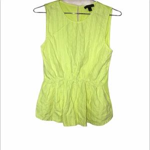 J.Crew Neon Yellow Chartreuse Cotton Blouse